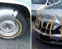 13 carros que foram consertados com fita adesiva, ou não
