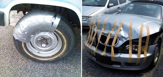 Carros que foram consertados com fita adesiva, ou não