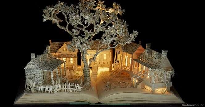 Artista cria lindas esculturas 3D utilizando livros velhos