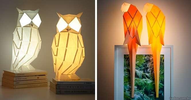 Belas luminárias criadas inspiradas em origamis