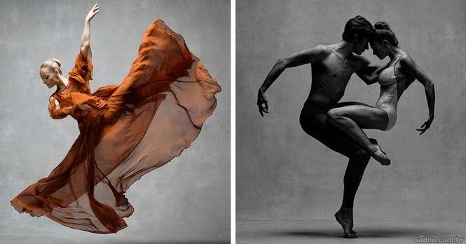 Fotos de dançarinos em movimento, revelando a extraordinária graça em seus corpos