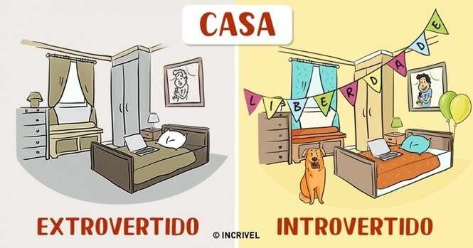 Comics mostrando as diferenças entre pessoas introvertidas e extrovertidas