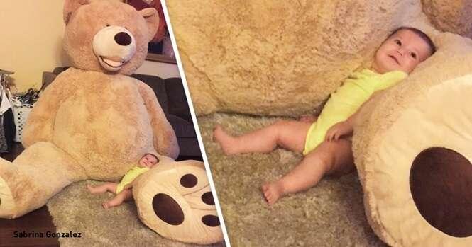 Um avô comprou este urso enorme para sua netinha