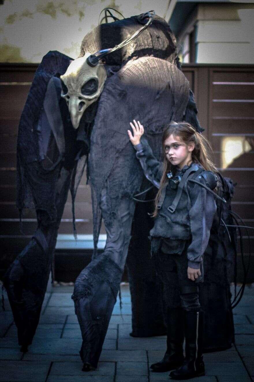 Este pai e sua filha estão prontos para aterrorizar no Dia das Bruxas