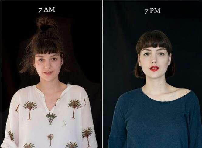 Série de imagens mostra como a aparência de uma pessoa pode mudar durante o dia