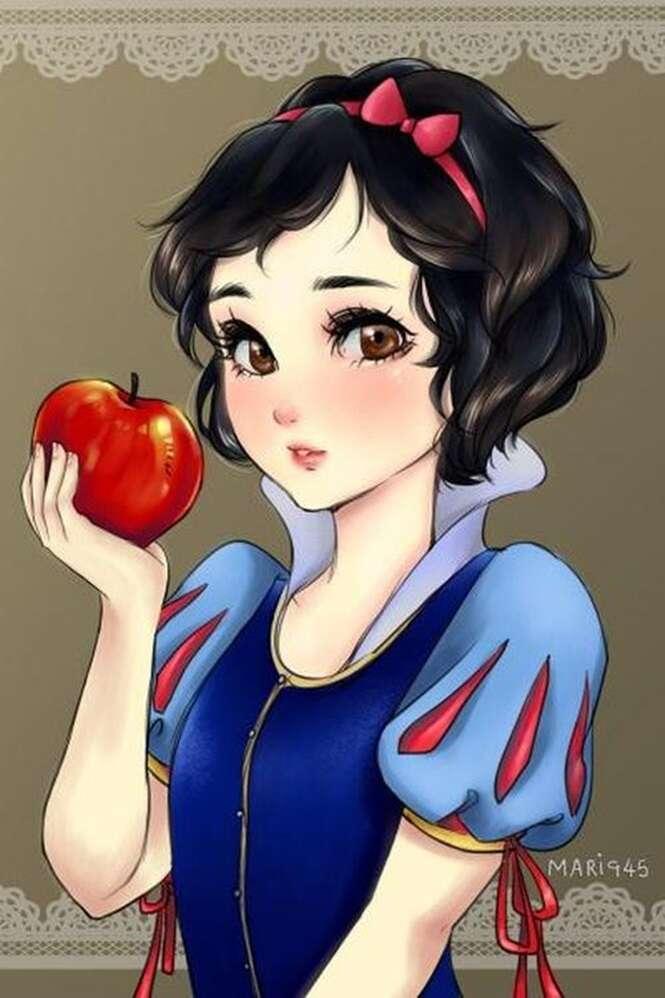 Princesas da Disney se fossem personagens de mangás