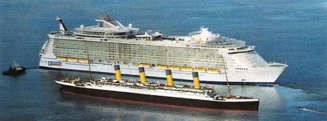 Esta montagem compara o cruzeiro com o lendário Titanic.