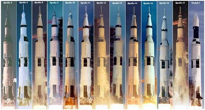Todas as missões lançadas por foguetes Saturno V. Foto: MegaCurioso