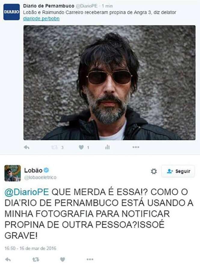 Como diria Caetano: Lobão tem razão. Erramos - e feio - na foto postada, que deveria ter sido a do senador. — Diario de Pernambuco (@DiarioPE) Foto: