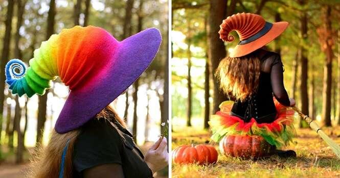 Lindos chapéus de bruxa feitos com lã