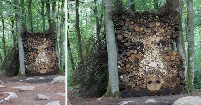 Pilhas de madeira que foram transformadas em arte