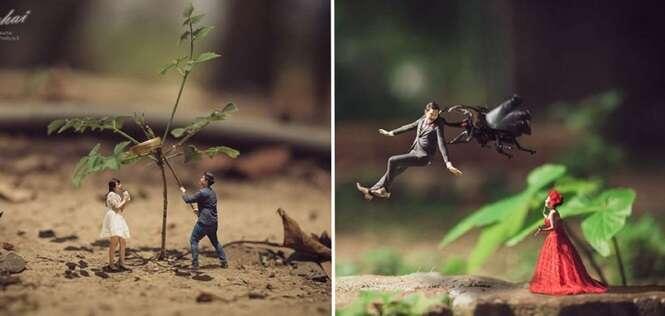 Fotógrafo cria incríveis imagens em miniatura de pessoas que vão se casar