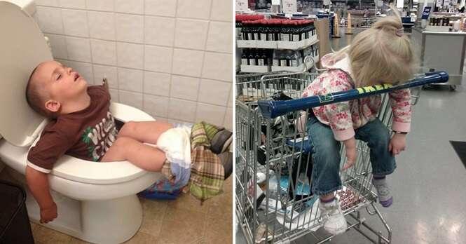 Fotos provando que as crianças podem pegar no sono em qualquer lugar