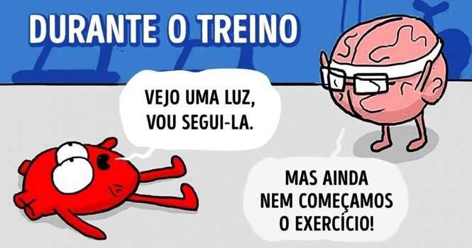 Ilustrações divertidas sobre a eterna batalha entre cérebro e coração