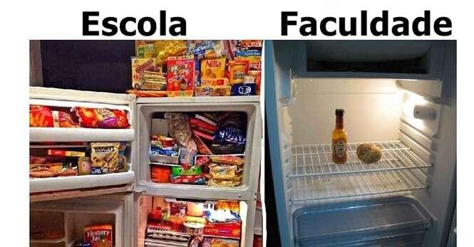 Imagens que ilustram bem as diferenças entre escola e faculdade