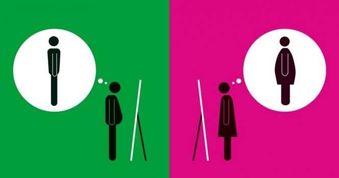 Imagens ilustrando as claras e simples diferenças entre homens e mulheres