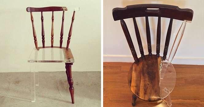 Artista restaura móveis velhos usando material translúcido e cria incríveis ilusões de ótica