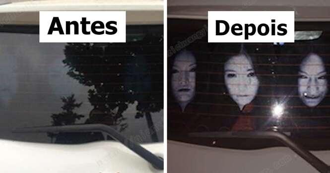 Motoristas instalam adesivos assustadores em seus vidros traseiros para evitarem que faróis altos lhe incomodem