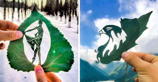 Artista cria desenhos extraordinários em folhas de árvores
