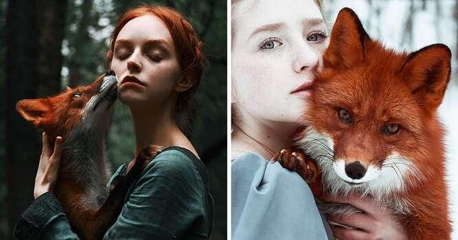 Garota ruiva e raposa protagonizam belíssima sessão de fotos