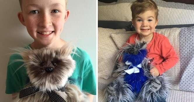 Menino de 12 anos aprende a costurar para fazer mais de 800 animais de pelúcia para crianças doentes