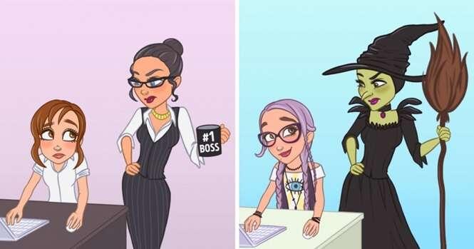 Ilustrações mostrando como as pessoas criativas veem o mundo