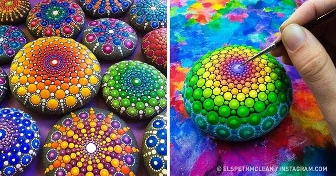 Artista transforma pedras perfeitamente redondas em mandalas fascinantes