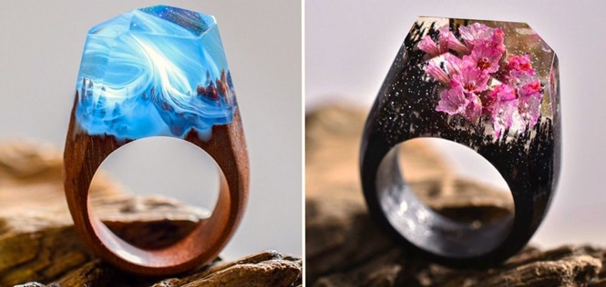 """Anéis com lindos """"mundos secretos"""" em seu interior"""