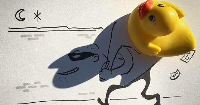 Artes incríveis feitas usando desenhos e sombras de objetos do quotidiano