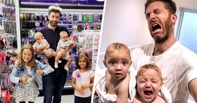 Este homem mostra a realidade do que é ser pai de 4 filhas