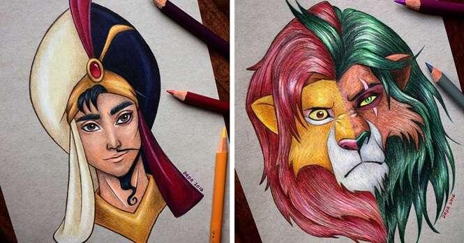 Este artista mescla heróis e vilões da Disney