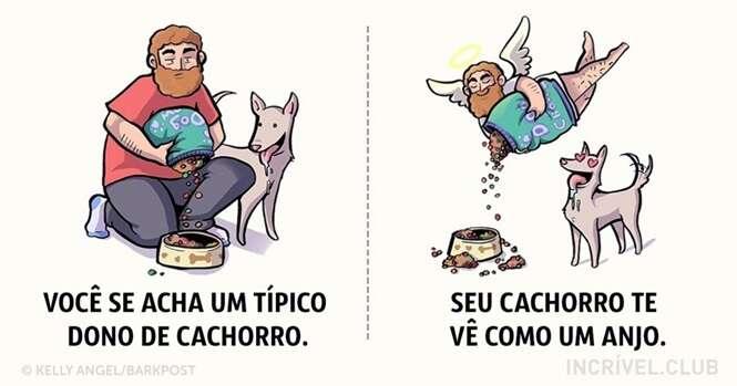 Ilustrações divertidas mostrando como nossos cães nos veem