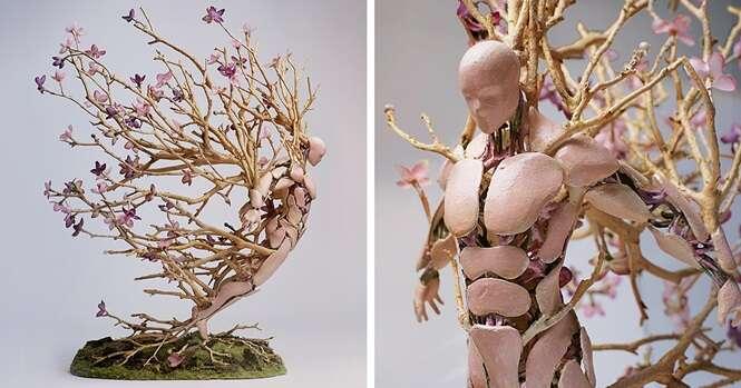 Esculturas ilustram o ciclo da natureza e sua frágil beleza
