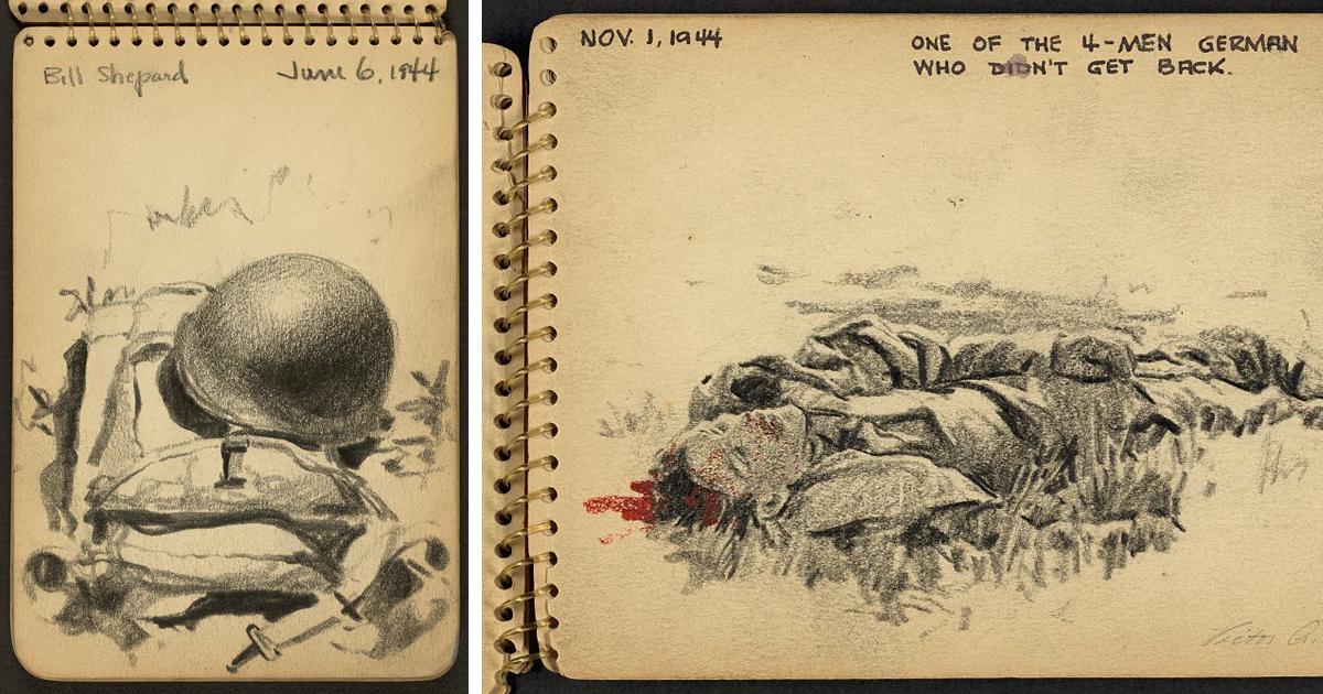 Soldado documenta suas experiências através de desenhos feitos enquanto serviu ao exército