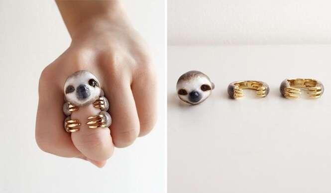 Lindos anéis de 3 peças que se transformam em animais quando usados todos de uma vez