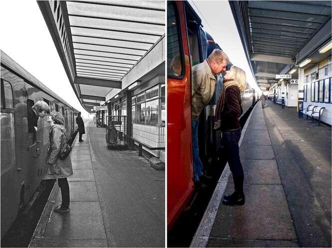 Fotos das décadas de 1970 e 1980 recriadas anos depois com as mesmas pessoas