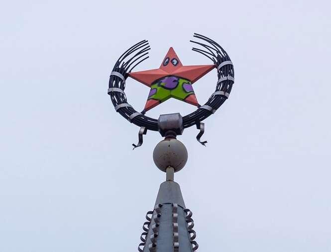 Depois de sofrer vandalismo, estrela soviética é transformada em Patrick, de Bob Esponja, na Rússia