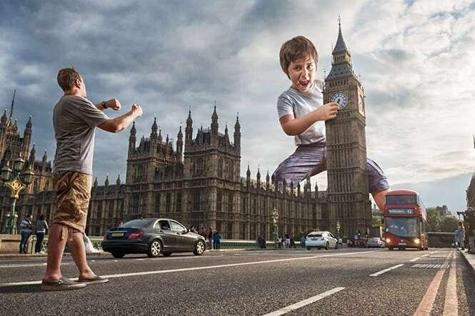 Pai faz montagens incríveis do filho usando o Photoshop