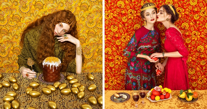 Casal retrata alta costura e tradicionalismo de roupas eslavas em belas imagens
