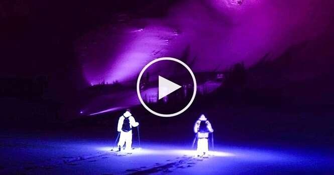 Vídeo: dois homens vestindo roupas luminosas saíram para esquiar à noite e as cenas são espetaculares