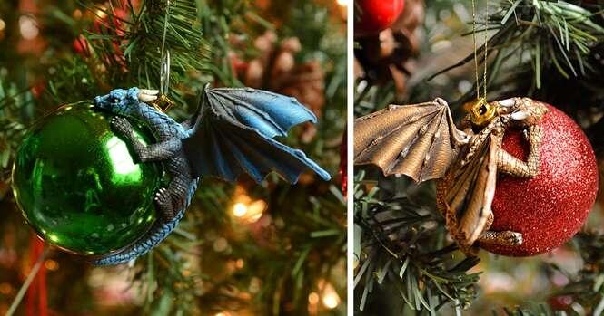 Esses dragões protegendo bolas de Natal como se fossem seus próprios ovos é o que você precisa para sua árvore este ano