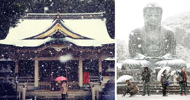 Após mais de 50 anos, volta a nevar em Tóquio no mês de novembro e você confere belas imagens