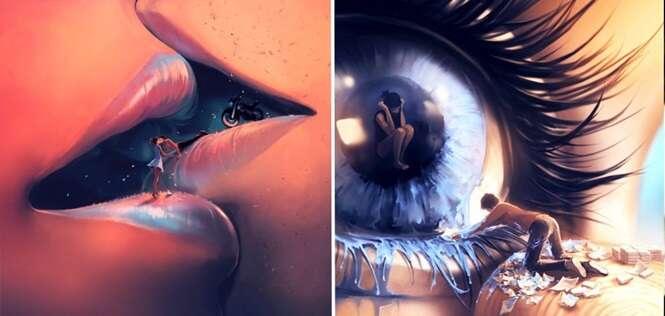 Ilustrações surrealistas misturando o absurdo a um universo encantando