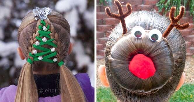 Penteados dos mais criativos que você já viu inspirados no Natal