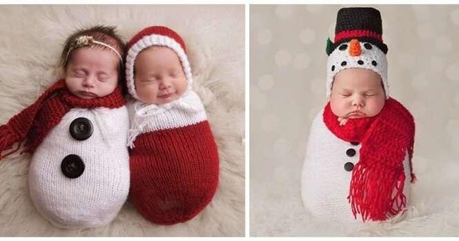 Fotos adoráveis de recém-nascidos que estão prontos para seu primeiro Natal