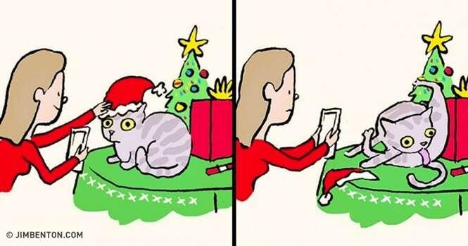 Quadrinhos mostrando o humor dos animais