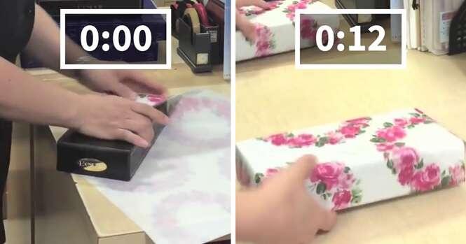 Este funcionário japonês consegue embrulhar um presente em apenas 12 segundos
