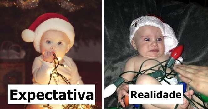 Expectativa x Realidade em fotos natalinas de bebês