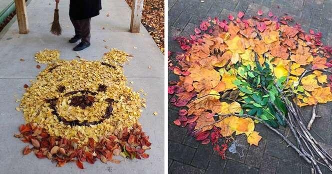 Fotos mostrando folhas caídas ao chão transformadas em arte