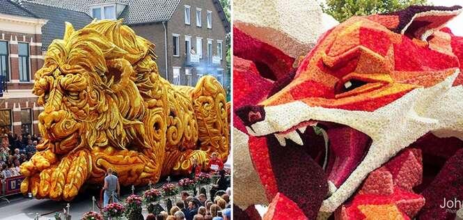 As mais impressionantes esculturas gigantes de flores de um famoso desfile holandês